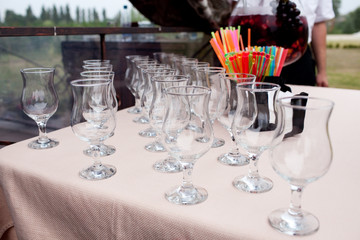 Empty wineglasses on the table