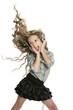 dancing little blond girl headphones music singing