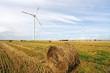 Straw bales and wind turbines farm