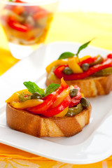 Bruschetta with bell pepper salad