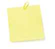 Yellow To-Do List Sticky Note And Paperclip, Isolated