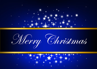 Blue Banner Merry Christmas