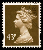 Vintage UK postage stamp with Queen of UK Elizabeth II