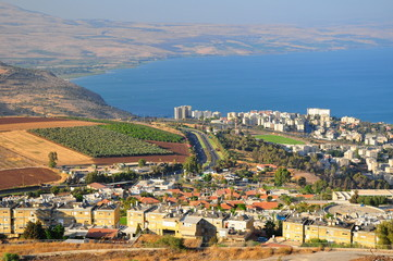 Tiberius city and the sea of Galilee ( Lake Kinneret).