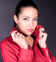 Photo-session of the young beautiful elegant  brunette