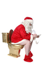 Santa sitting on golden toilet writing his naughty and nice list