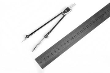 bow compass with metal ruler