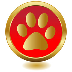 Gold paw button.Vector