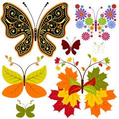 Set abstract floral butterflies