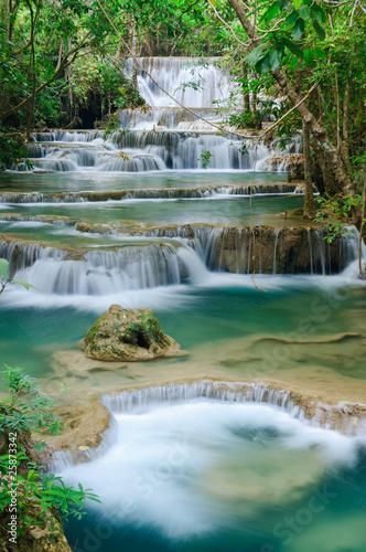 obraz PCV Głęboki las wodospad w Kanchanaburi, Tajlandia