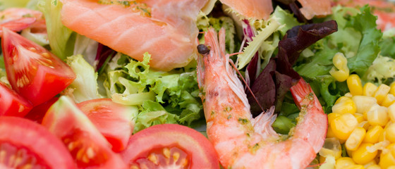 Mediterranean salad with shrimp and salmon