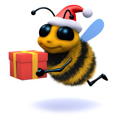 3d Bee carrying Christmas present