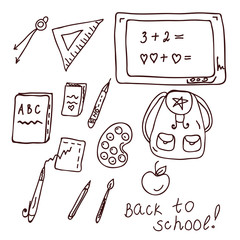 School doodle with different objects and text