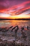 Fototapeta rzeka - słońce - Zachód / Wschód Słońca