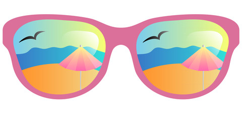 vector sun glasses with beach reflection