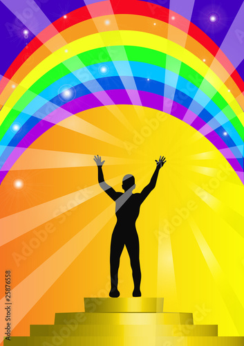 person on background of the rainbow