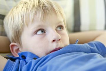 boy looking away, close-up