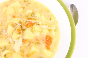 Pickled cucumber soup, traditional Polish cuisine