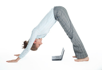 Flexible student girl working with computer