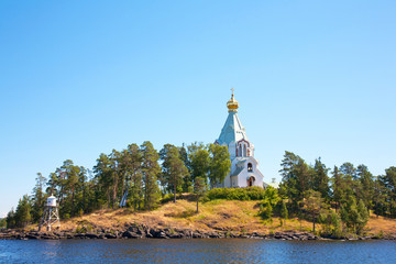 Ladoga lake. Island Valaam. Beautiful churches.
