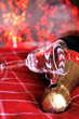 champagne con bicchiere in cristallo