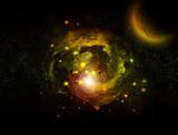 galaxie et planette poster