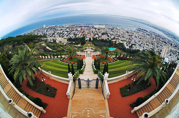 View of Haifa, Bahai Gardens and Shrine of the Bab, Israel