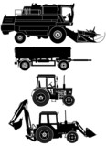 vector agricultural vehicles set