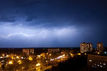 Lightning at night in Kharkov