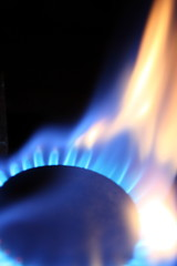Burner flame of natural gas