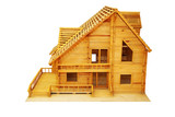 An isolated house mock up (scale model) on white background poster