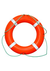 An isolated ring-buoy on a white background