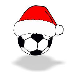 Fußball mit weihnachtsmütze
