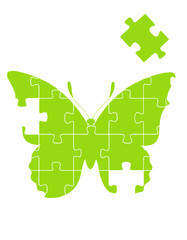 Butterfly puzzle vector background
