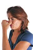 Femme qui se bouche le nez à cause des odeurs poster