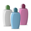 Set of colored cosmetic bottles
