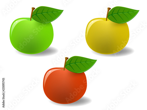 Set colored apples with leaf