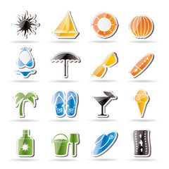 Simple Summer and Holiday Icons - Vector Icon Set