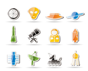 Simple Astronautics and Space Icons - Vector Icon Set 2