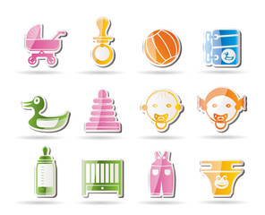 Simple Child, Baby and Baby Online Shop Icons