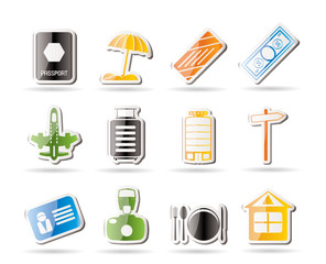 Simple Travel, Holiday and Trip Icons - Vector Icon Set