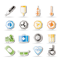Simple medical themed icons and warning-signs