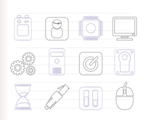 Computer and mobile phone elements icon