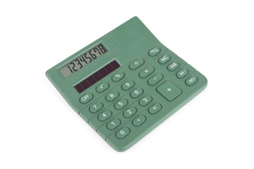 Green business calculator isolated on white background