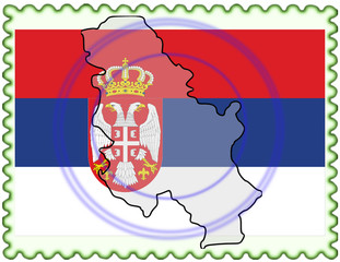 Serbia map flag stamp