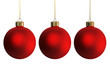 Christmas decoration three red ornaments
