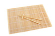 chopsticks isolated on bamboo mat