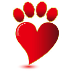 Paw print love.Vector