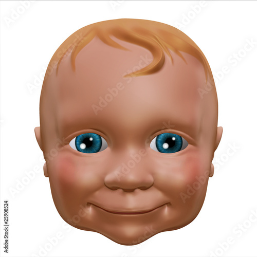 baby face on white background