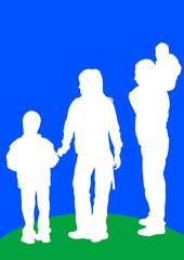 Family on blue sky